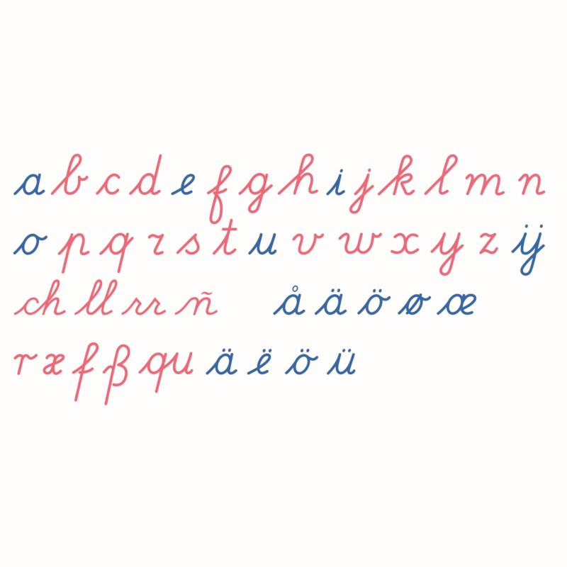 Large Movable Alphabet: International Cursive