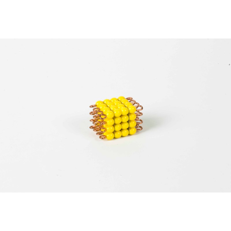 Individual Glass Bead Cube Of 4: Yellow