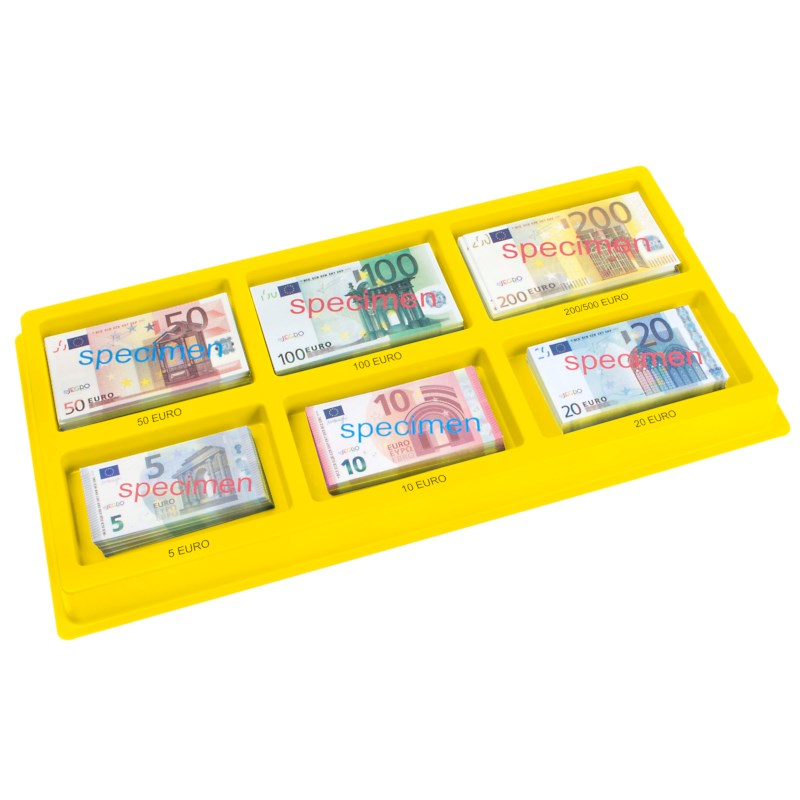 Euro banknotes sorting tray
