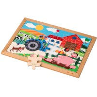 Math puzzle - addition and subtraction up to 6 l 24 wooden puzzle pieces l Educo