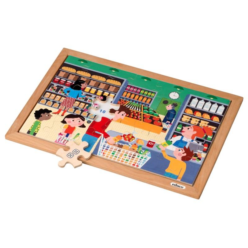 Math puzzle - quantities up to 12 l 35 wooden puzzle pieces l Educo