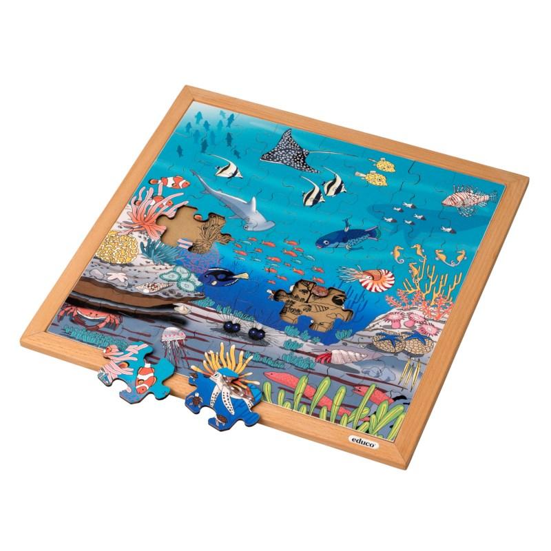 Vocabulary puzzle coral l Wooden puzzles l 49 puzzle pieces l Educo