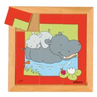 Animal puzzle mother + child - hippo
