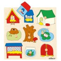 Knob puzzle surprise - animal houses