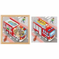 Puzzle in 2 layers - fire engine